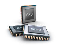 Set of microprocessors. Over white background Stock Image