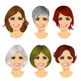 set of middle aged woman avatar with different hairstyles Stock Photos