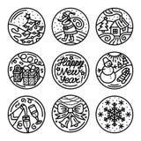 Set mieszkanie linii ikony na zima wakacjach Obraz Stock