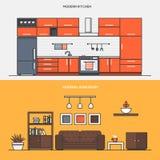 Set mieszkanie linii koloru sztandarów projekta pojęcia Obrazy Royalty Free