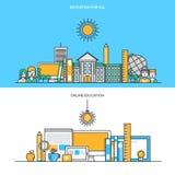 Set mieszkanie linii koloru sztandary Obrazy Royalty Free