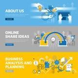 Set mieszkanie linii projekta sieci sztandary dla firmy informaci, biznesowej analizy i planowania, dzieli pomysły royalty ilustracja