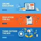 Set mieszkanie linii projekta sieci sztandary dla online edukaci, onlinego szkolenia i kursów, ilustracji