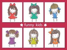 Set śmieszni dzieciaki na tle Fotografia Royalty Free