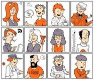 Set Śmieszni Wektorowi Doodle ludzie Zdjęcia Stock