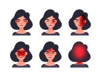 Set migrena typy na różnym terenie pacjent głowa Kobieta z tession gronem i inny przewodzimy typy migrena royalty ilustracja