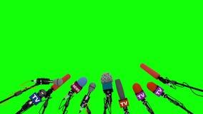 Set mikrofony dla konferenci prasowej, bezszwowa pętla, 3D animujący na zieleni ilustracja wektor