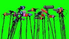 Set mikrofony dla konferenci prasowej, 3D animacja na zieleń ekranie ilustracja wektor