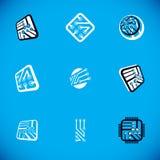 Set mikroprocesoru planu abstrakta logotypy Futurystyczna cybernetyczna wektorowa p?yta g??wna Cyfrowych elementy ilustracji