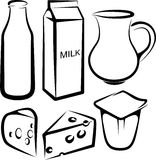 Set Milchprodukte Lizenzfreies Stockbild