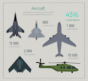 Set of Military Aircraft Vector Illustrations Royalty Free Stock Photo
