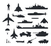 Set of Military Armament Vector Silhouettes. Military armament and troops silhouettes. Army aircraft, artillery, navy warships, submarine, helicopter, rockets Royalty Free Stock Photography