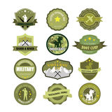 Set of military and armed forces badges. And labels stock illustration