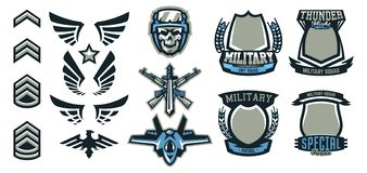 Set of military and military badges. Emblems, automatic weapons, skull, ammunition, eagle, wings, templates. Vector. Illustration printing on T-shirts vector illustration