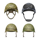 Set of military camouflage helmets in khaki camo colors Royalty Free Stock Photography