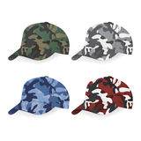 Set of Military caps with camouflage pattern Royalty Free Stock Photo