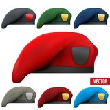 Set of Military colorful Berets Army Special Stock Photography
