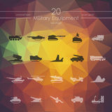 Set of military equipment icons Royalty Free Stock Photos