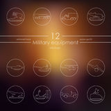 Set of military equipment icons Royalty Free Stock Photography