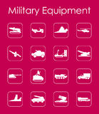 Set of military equipment simple icons Stock Images