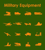 Set of military equipment simple icons Royalty Free Stock Photography