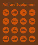 Set of military equipment simple icons Stock Photo