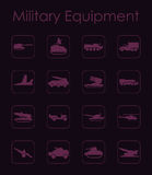 Set of military equipment simple icons Royalty Free Stock Photos
