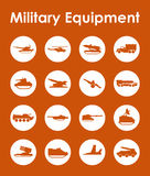 Set of military equipment simple icons Stock Photography