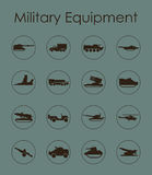 Set of military equipment simple icons Stock Photos