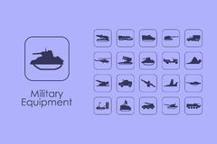 Set of military equipment simple icons Royalty Free Stock Image