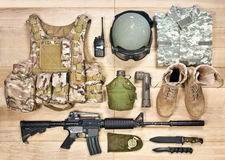 Set of military equipment of the 21st century Stock Images
