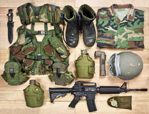 Set of military equipment of the 20th century Royalty Free Stock Photo