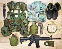 Set of military equipment of the Vietnam War era Stock Images