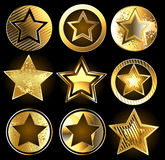 Set of military gold stars Royalty Free Stock Photo