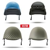 Set of Military helmets. Vector Illustration. Royalty Free Stock Photos