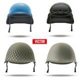 Set of Military helmets. Vector Illustration. Royalty Free Stock Photos
