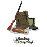 Set of military hunting equipment with rifle Royalty Free Stock Photography