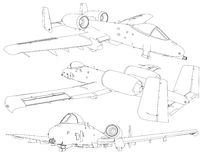 Set of military jet fighter silhouettes. Image of aircraft in contour drawing lines Stock Photo