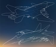 Set of military jet fighter silhouettes. Image of aircraft in contour drawing lines Stock Images