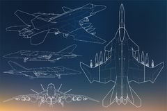 Set of military jet fighter silhouettes. Image of aircraft in contour drawing lines Royalty Free Stock Images