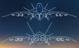 Set of military jet fighter silhouettes. Image of aircraft in contour drawing lines Royalty Free Stock Photos