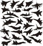 Set of military jets royalty free illustration
