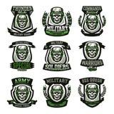 Set of military logos, emblems. Skull, helmet, glasses, soldier, ammunition. Vector illustration, printing on T-shirts. Set of military logos, emblems. Skull royalty free illustration
