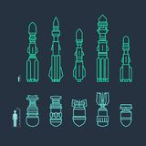 Set of Military Missiles and Ammunition. Set of Military Missiles, Offensive Missiles Carrying Warheads, Ammunition, Thin Line Style, Vector Illustration vector illustration