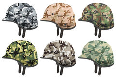 Set of Military modern camouflage helmets. Side view. Royalty Free Stock Image