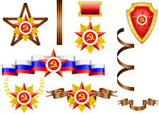 Set of military objects, related to 23 of February. And Victory Day Royalty Free Stock Photo