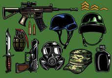 Set of military objects. Vector of set of military objects Royalty Free Stock Images