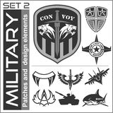 Set of military patches logos, badges and design elements. Graphic template. Stock Images