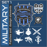 Set of military patches logos, badges and design elements. Graphic template. Stock Photography
