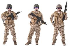 Set of military soldiers in camouflage clothes, isolated on white background. stock image